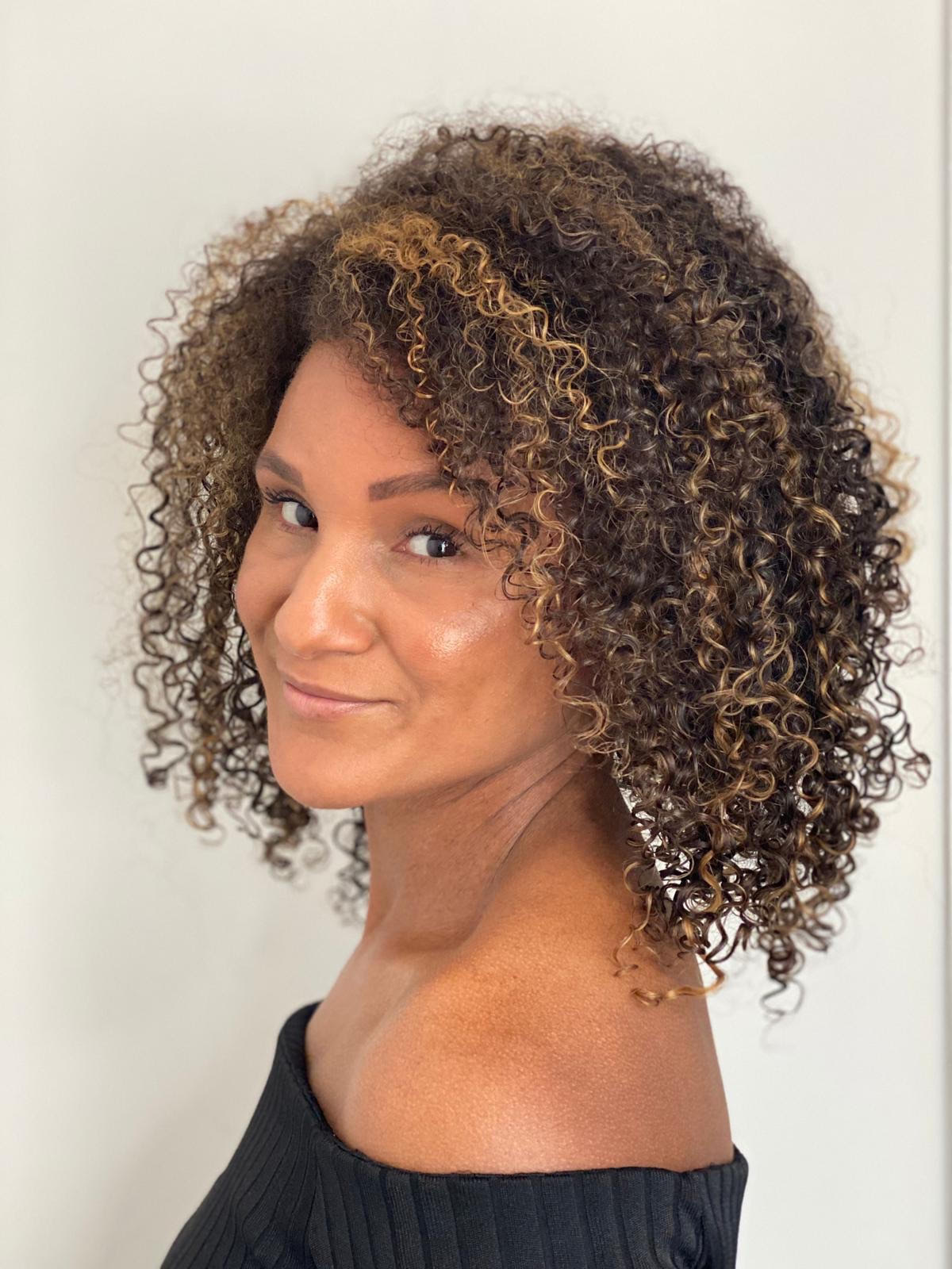Amber Irving, curly hair client